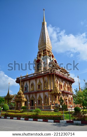 Phuket, Thailand - April 15, 2014 : Wat Chaitharam or Wat Charong on April 15, 2014, The temple is one of the most sacred temple in Phuket city. Many buddhist come here for pray to the sacred monks