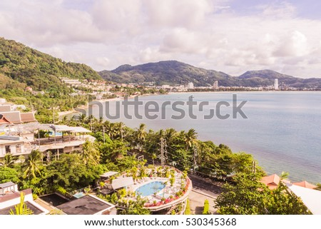 Phuket, Thailand - Dec 4, 2016: Patong beach view from hill of Kalim bay, right hand side of it