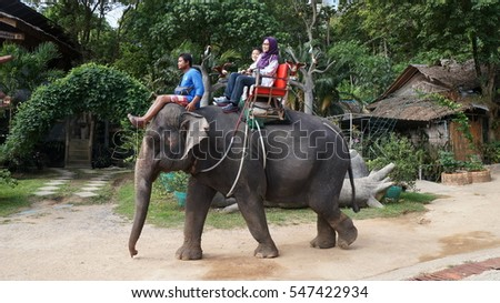 PHUKET, THAILAND - December 24, 2016 : Tourists riding on the elephant in Phuket, Thailand.