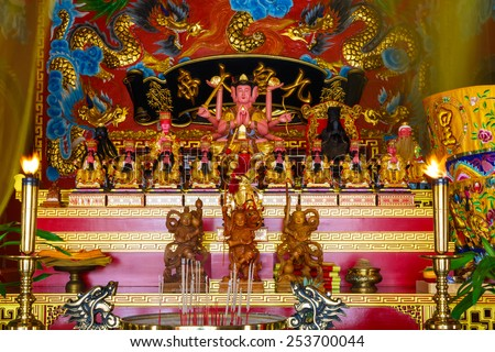 Phuket,Thailand -  February 18, 2015: celebration of the Chinese new year in the temple Saphan Hin