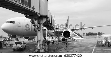 PHUKET, THAILAND- JANUARY 10.2017: Aircraft docked in Phuket International Airport,Thailand.