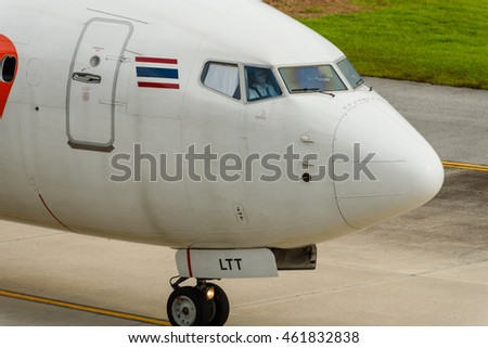 Phuket, Thailand - July 28 , 2016 : Lionair airways airplane ,Boeing 739, cockpit while taxi for departure at Phuket airport