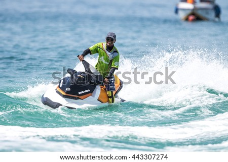 PHUKET, THAILAND - JUN 26,2016: Jet ski training at Kai island Phuket on jun 26, 2016, Thailand.
