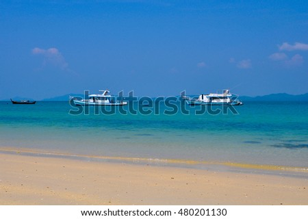 PHUKET,THAILAND - MARCH 4,2011:Pleasure boats in the Andaman sea off the Islands of Phang nga Bay