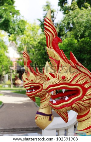 PHUKET, THAILAND - MAY 3: Dragon heads at Wat Chalong on May 3, 2012. Wat Chalong is Phuket's biggest Thai temple visited daily by local Thais and tourists.