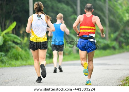 PHUKET,THAILAND-MAY 05:Unidentified athletes  run during the Laguna Phuket International marathon at Laguna Phuket Resorts and Hotels on May 05, 2016 in Phuket,Thailand.