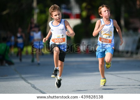 PHUKET, THAILAND - MAY 04: Unidentified young athletes  the Kids' Run at the Laguna Phuket International marathon at Laguna on May 04, 2016 in Phuket, Thailand.