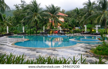 Phuket, Thailand - Nov 3, 2015. Swimming pool at the luxury villa, Phuket, Thailand.