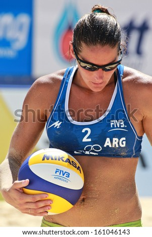 PHUKET, THAILAND - NOVEMBER 2:Georgina Klug of Argentina in action  during a match on day 5 of of the FIVB Beach Volleyball  Phuket Thailand Open on november2,2013 at Karon Beach in Phuket,Thailand