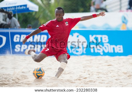 PHUKET THAILAND-NOVEMBER20 :Hasan Alhammadi of UAE in action during the Beach Soccer match between UAE and Iran the 2014 Asian Beach Games at Saphan Hin on Nov 20,2014 in Thailand - stock photo