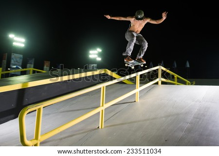 PHUKET THAILAND-NOVEMBER 16 :Skateboarder  Athiwat Rueangsri of  Thailand  in action during  Skateboard practice before the 2014 Asian Beach Games at Saphan Hin on Nov 16,2014 in Thailand - stock photo