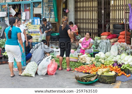 Phuket, Thailand-November 12th 2014: The morning market. The town has both an indoor and an outdoor market every morning. - stock photo