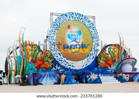 PHUKET THAILAND-NOVEMBER 14 :Views the big Stage during before the Grand opening ceremony 2014 Asian Beach Games at Saphan Hin on Nov 14,2014 in Thailand - stock photo