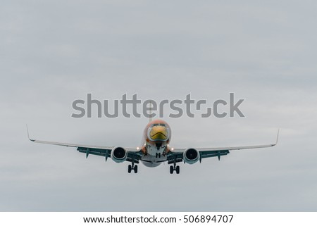 Phuket, Thailand - October 30 ,2016 : Nok air  airways airplane , Boeing 738, landing at phuket from sea