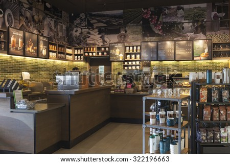 Phuket, Thailand - September 30, 2015: The Starbucks coffeehouse inside a shopping mall. Starbucks is the largest coffeehouse company in the world, with 19,435 stores in 58 countries (2012).
