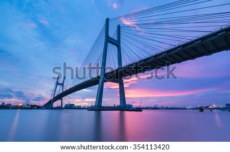 PhuMy Bridge over Sunset, Ho Chi Minh City, Vietnam
