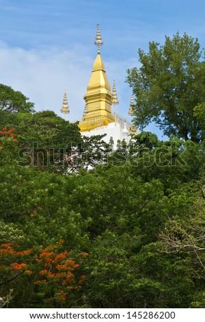 Phuse mountain, the landmark of Luang Prabang, the world heritage town - stock photo