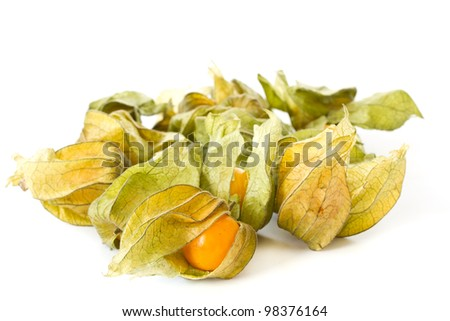 physalis yellow ripe berries on a white background
