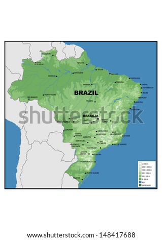 Physical map of Brazil - stock photo