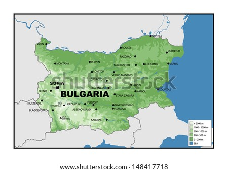 Physical map of Bulgaria - stock photo