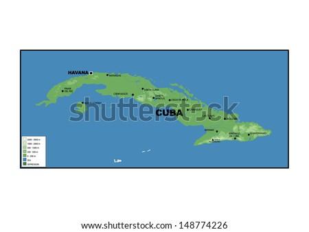 Physical Map Cuba Stock Illustration 148774226 Shutterstock
