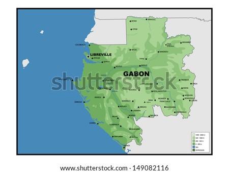 Physical Map Gabon Stock Illustration 149082116 Shutterstock