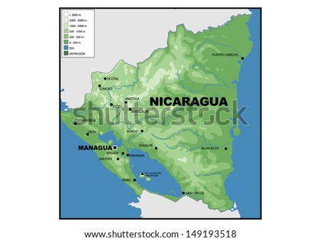 Simple Map Nicaragua Stock Illustration Shutterstock - Physical map of nicaragua