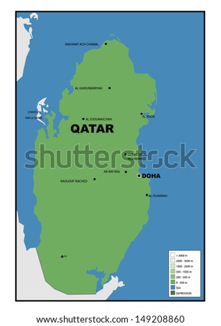 Physical map qatar stock illustration 149208860 shutterstock physical map of qatar publicscrutiny Images