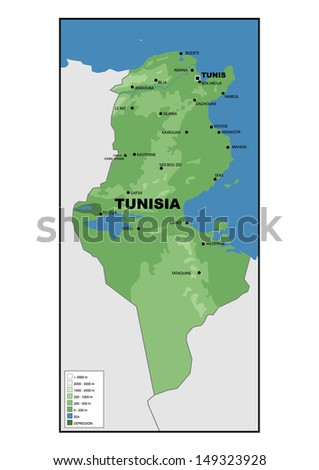 Tunisia Map Stock Images RoyaltyFree Images Vectors Shutterstock - Physical tunisia map