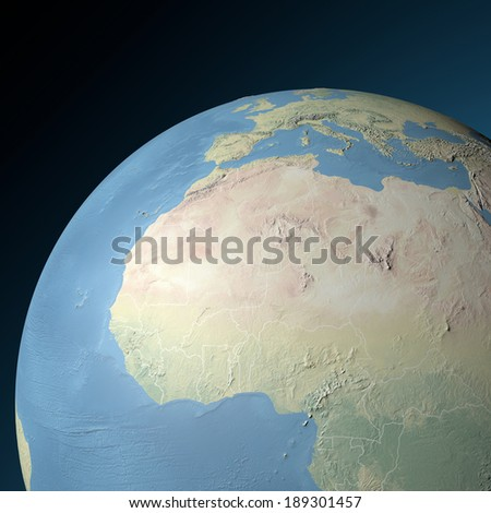Physical map western North Africa. Elements of this image furnished by NASA