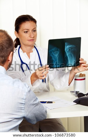 physician practice with patients. interview and counseling treatment. - stock photo