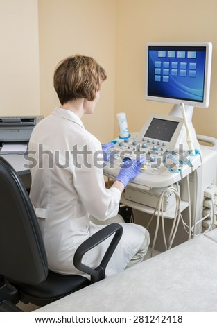 physician ultrasound - stock photo