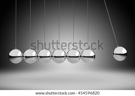 Physics Concept by Newton Cradle, 3D Rendering - stock photo