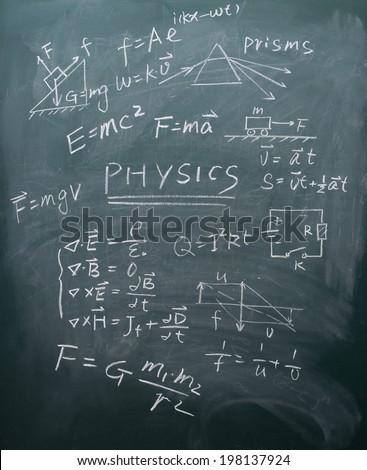physics equations on blackboard - stock photo
