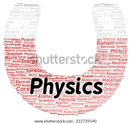 Physics word cloud shape concept - stock photo