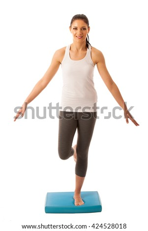 Physiotherapy - therapist doing   exercises for improving coordination and stability with a patient to recover  after injury - stock photo