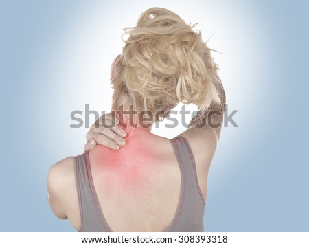 Physiotherapy treatment for neck pain, aches and tension. It  is also used for prevention and treatment in competitive sports.  - stock photo