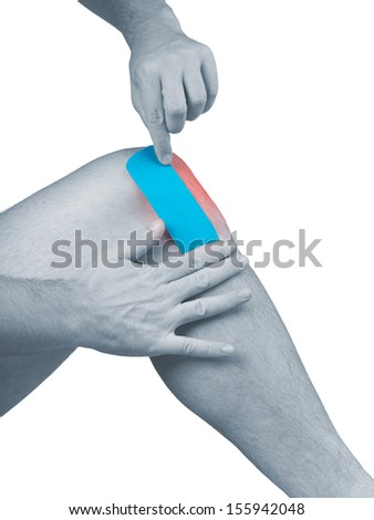 Physiotherapy treatment with therapeutic tape for knee pain, aches and tension. It  is also used for prevention and treatment in competitive sports.