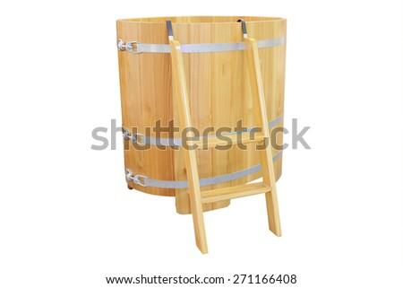 Phytotherapy. Cedar bath - barrel - stock photo