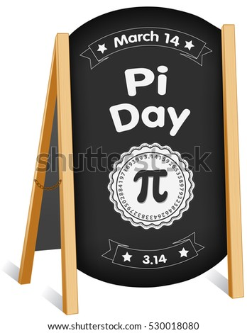 Pi Day, March 14, international holiday to celebrate the mathematical constant Pi, 3.14, and eat lots of fresh baked sweet pie, sidewalk chalk board sign, folding easel, brass chain.