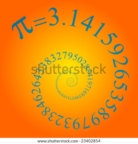 pi number on many digits in spiral - stock photo