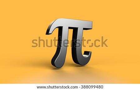 pi number symbol yellow background - stock photo