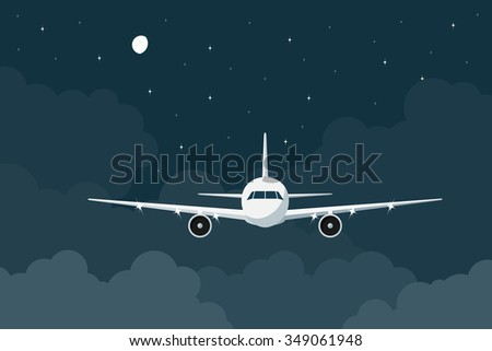 pi?ture of a civilian plane flying in the night above the clouds, flat style illustration