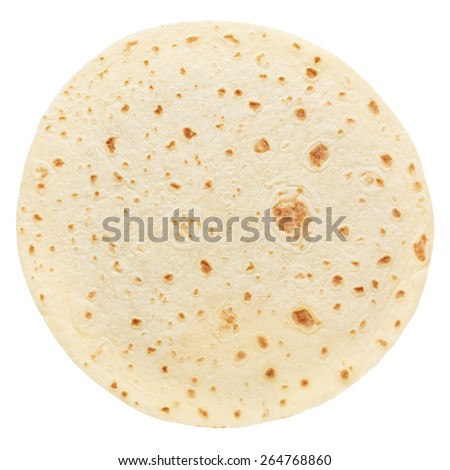 Piadina, round italian tortilla isolated on white, clipping path included - stock photo