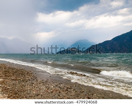Pianello del Lario, Italy: Storm on the lake, creates a surreal atmosphere with waves and storm on the horizon