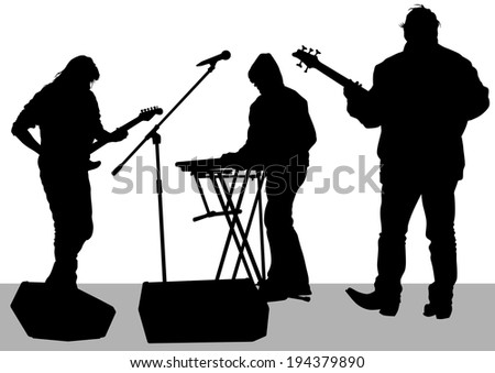 Pianist and guitarist of rock band on a white background - stock photo