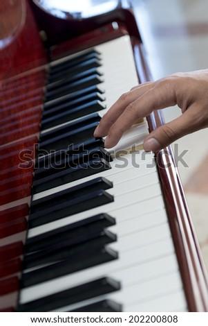 Pianist Hand Playing Music on Piano - stock photo