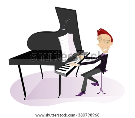 Pianist. Smiling pianist is playing music   - stock photo