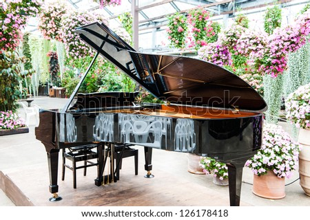 piano and flower - stock photo