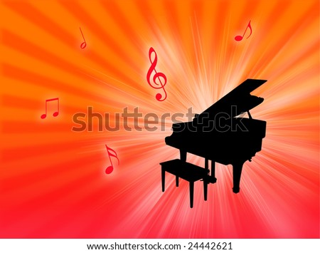 Piano instrument on a colorful background with notes in the air